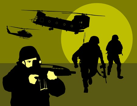 idzie: żołnierz przejdzie w night reconnaissance na pustyni  Ilustracja