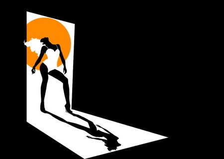 Silhouette sexual blonde in a dark room  Vector