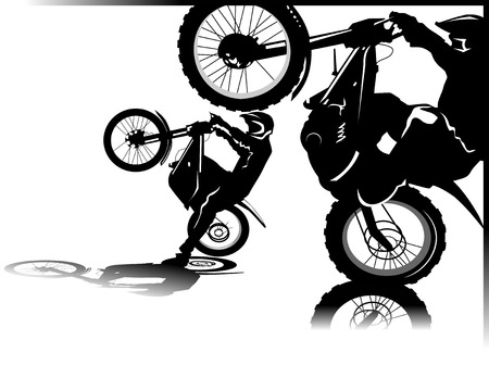 A silhouette of a motorcycle racer commits high jump;  Vector