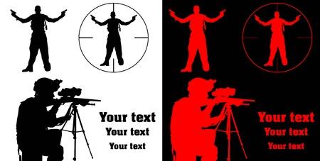 sharpshooter aiming his rifle at a terrorist; Stock Vector - 8596333