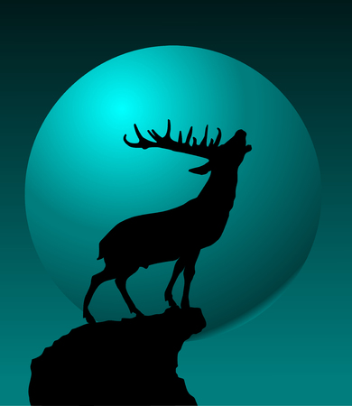 Deer singing a song standing on a high cliff;  Vector