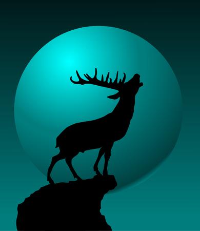 northpole: Herten zingen een lied staande op een hoge klif;