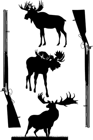 antique rifle: Silhouettes of deer of different species on a white background;  Illustration
