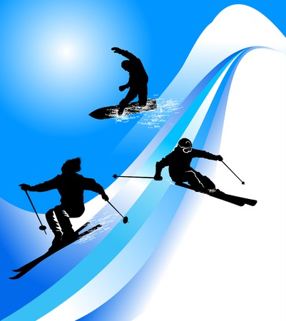 the slope: Group of skiers coming down the mountain road;