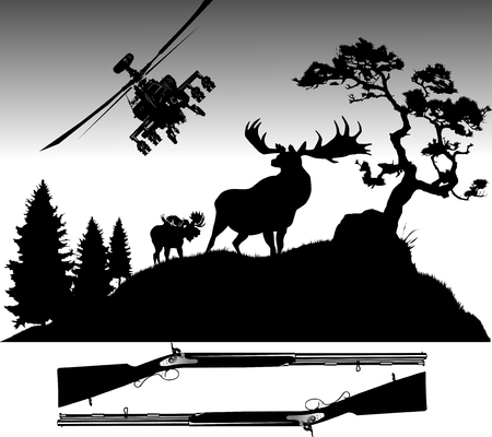 Silhouettes of deer of different species on a white background;  Stock Vector - 8665361