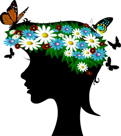 girl-spring with a wreath of wild flowers on the head;  Vector