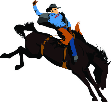 rearing: Cowboy on horse silhouettes on a white background Illustration