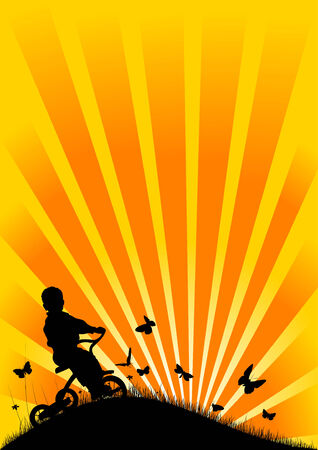 silhouette of a boy on a tricycle at sunset in the background Vector