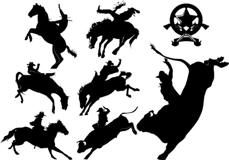 toro: Cowboy sobre siluetas de caballo sobre un fondo blanco Vectores