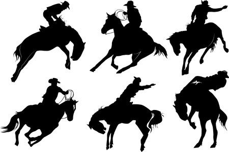 vaquero: Cowboy sobre siluetas de caballo sobre un fondo blanco Vectores