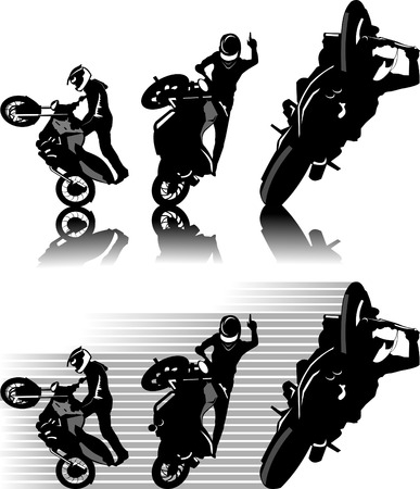 motorbike jumping: A silhouette of a motorcycle racer commits high jump;  Illustration