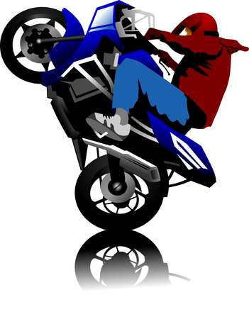 A silhouette of a motorcycle racer commits high jump;  Illustration