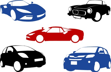 five grunge Banners with cars.  Vector