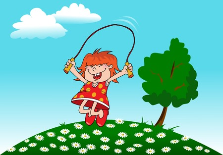 girl playing with a skipping rope on the background of the rising sun; Stock Vector - 8730440
