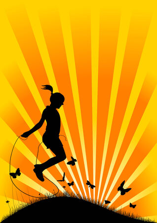 infantile: girl playing with a skipping rope on the background of the rising sun;