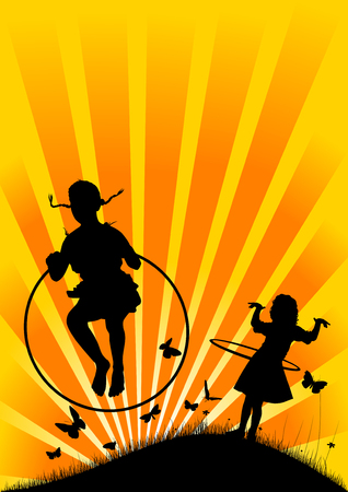 girl playing with a hula hoop on the background of the rising sun;  Vector
