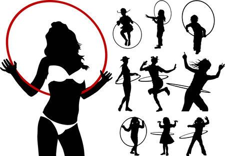hula: chica jugando con un hula hoop sobre un fondo blanco Vectores