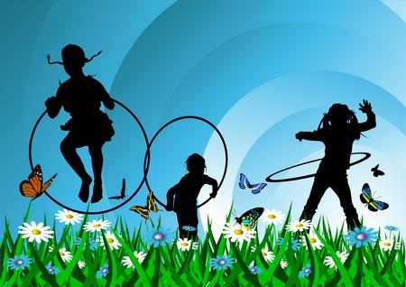 playmates: chica jugando con un hula hoop sobre un fondo verde;