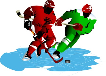 two hockey players fighting for possession of the puck;  Vector
