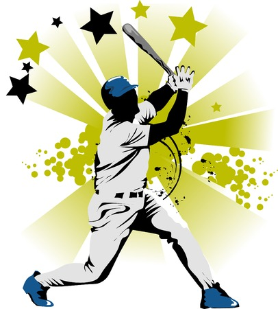 baseball ball: Baseball player strikes the ball with a stick;  Illustration