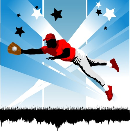 Baseball player on the field Stock Vector - 8857166