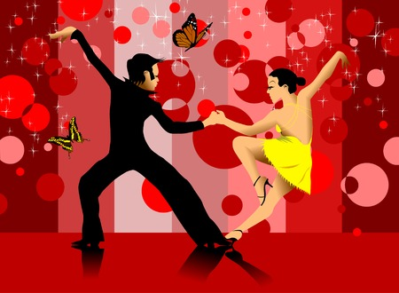 rumba: couple participates in competitions in sport dancing (vector);  Illustration
