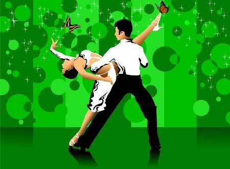 poise: pareja participa en competiciones en el deporte bailar (vector);