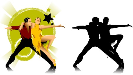 couple participates in competitions in sport dancing (vector);  Vector