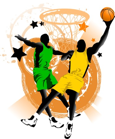 basketball team: player in basketball at the background of basketball rings (vector);