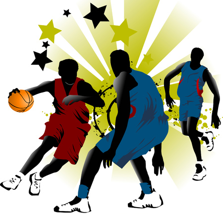 dunk: player in basketball at the background of basketball rings (vector);