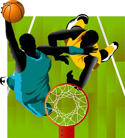 joueur de basket-ball ? l'arri?re-plan des anneaux de basket-ball (vecteur);