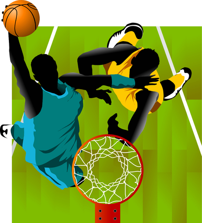 player in basketball at the background of basketball rings (vector);  Stock Vector - 8949461