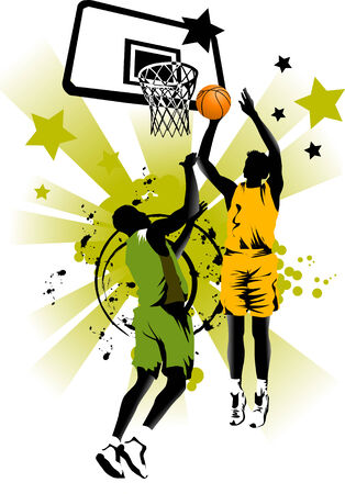 basketball player: player in basketball at the background of basketball rings (vector);