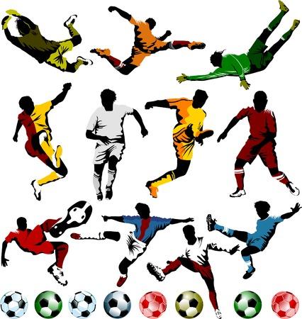 arquero futbol: colecci�n de jugadores de f�tbol en diferentes posiciones (vector);  Vectores