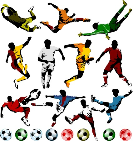 collection of soccer players in different positions (vector);  Vector