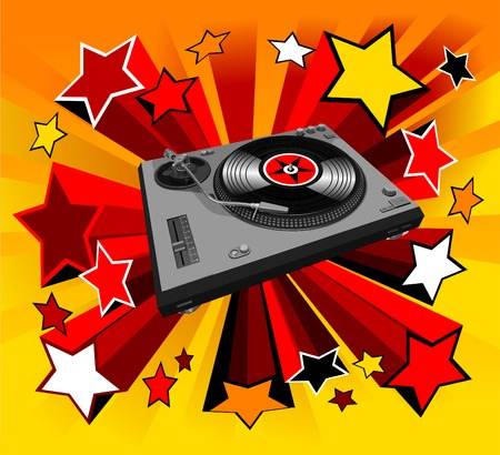 dj turntable: Music poster halftone design with DJ record player;