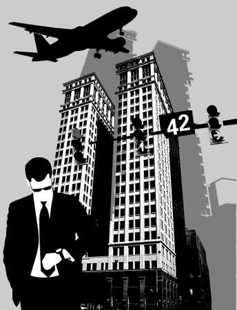 businessman looks at the clock on the background of a large building; Vector