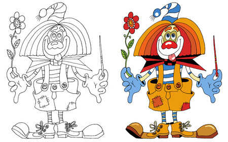 cheerful clown that you can decorate paints;  Vector