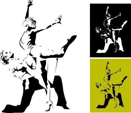 poise: pareja participa en concursos de baile de deporte  Vectores