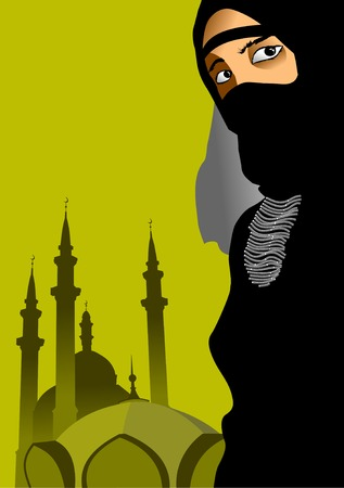 burqa: Illustration on the theme of the Muslim religion;  Illustration
