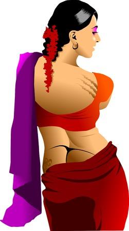 indian tattoo: beautiful Indian girl in sexy saree