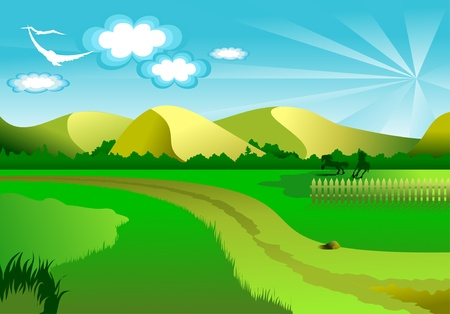 clouds: garden: Vector illustration of an idyllic sunny nature background with a blue gradient stripes sky; Illustration
