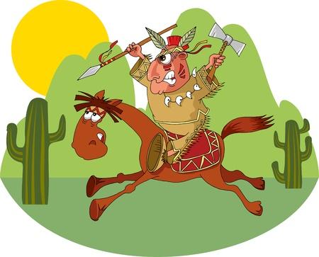 loin: Indien de l'Am�rique sur un cheval sauvage
