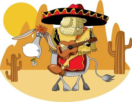 mexican sombrero: Messicano indossando un sombrero cavalcare un asino nel deserto;