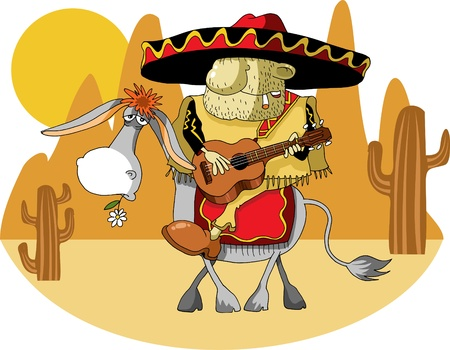 Mexican wearing a sombrero riding a donkey in the desert; Vector