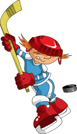 ni�o en patines: Jugador de hockey hace un fuerte disparo en rival de objetivo;