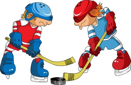 Hockey player makes a strong shot on goal rival;  Stock Vector - 9219290