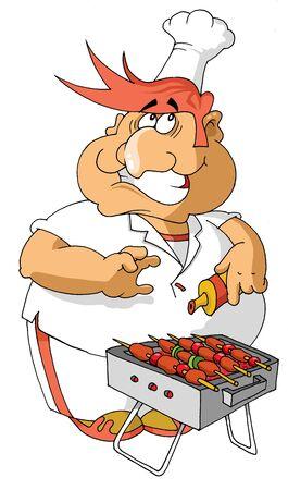 Feliz cocinero prepara carne a las brasas (ilustración vectorial);