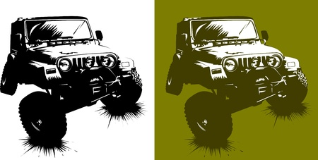 illustration technique: poster of the car monster truck; (vector-illustration);  Illustration