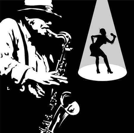 funky music: Man with saxophone on a black background;